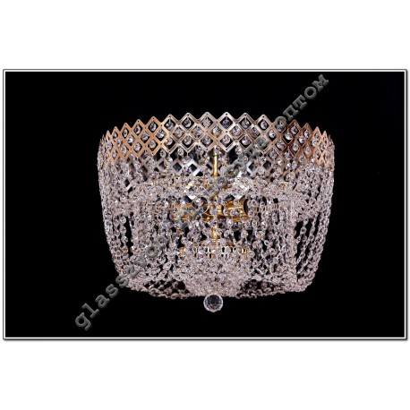 Lamp Crystal Waterfall CROWN №3 with a mirror