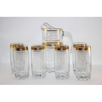 97875/12з Набор д/воды: кувшин 1,6л + 6 высоких стаканов 390 мл., Цветочный бордюр золотой