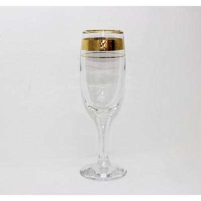 44160/12з  Набор 6-ти бокалов  д/шампанского 200 мл, Цветочный бордюр золотой