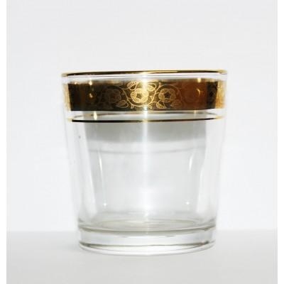 1249/12з  Набор 6-ти низких стаканов 250 мл. Ода, Цветочный бордюр золотой