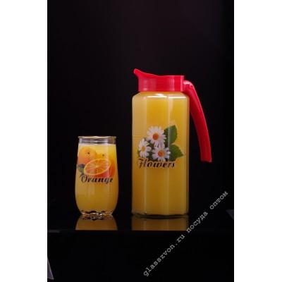 """Набор 5 пр. (кувшин """"Призма"""" 1000 мл. с пластиковой крышкой + 4 стакана 200 мл.) с деколью в ассортименте"""
